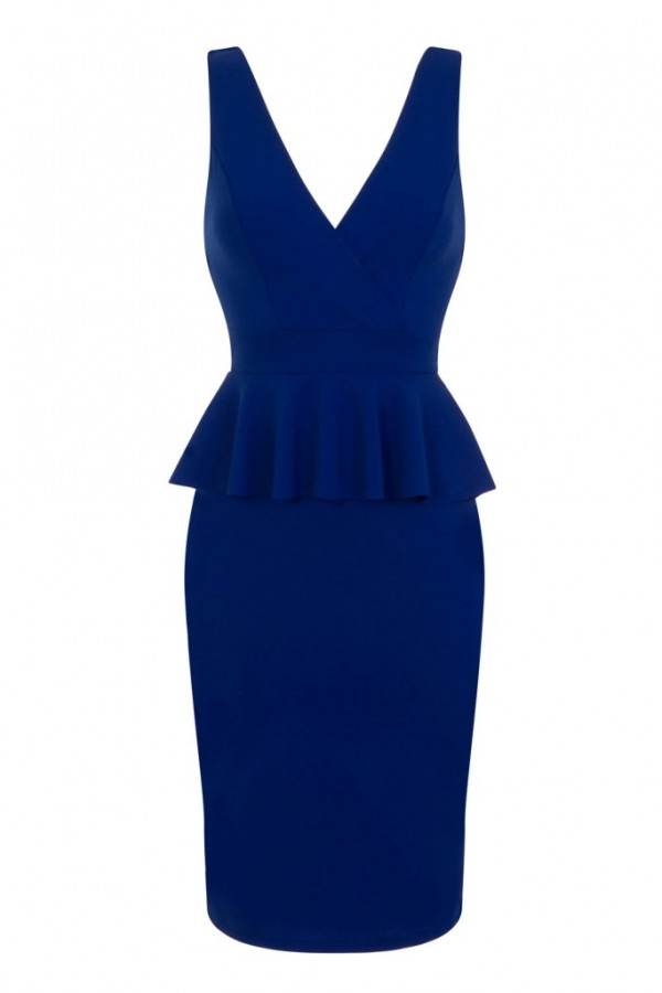WalG V Neck Blue Frill Dress