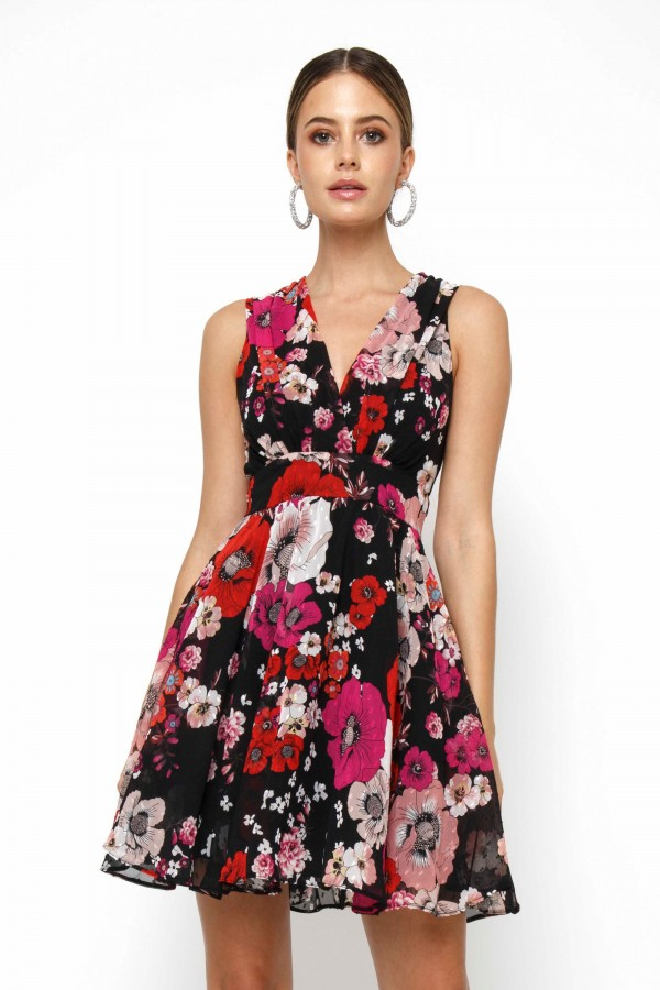TFNC Nordi Black Pink Mini Dress