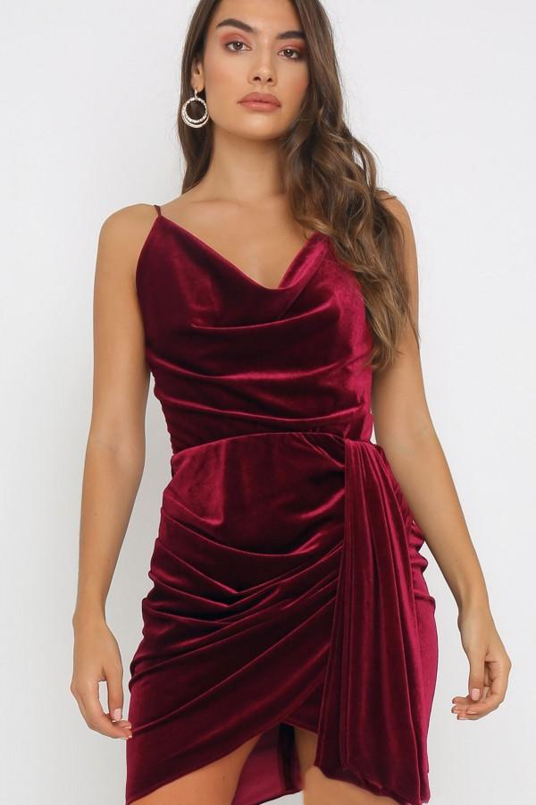 TFNC Ruchira Velvet Burgundy Mini Dress