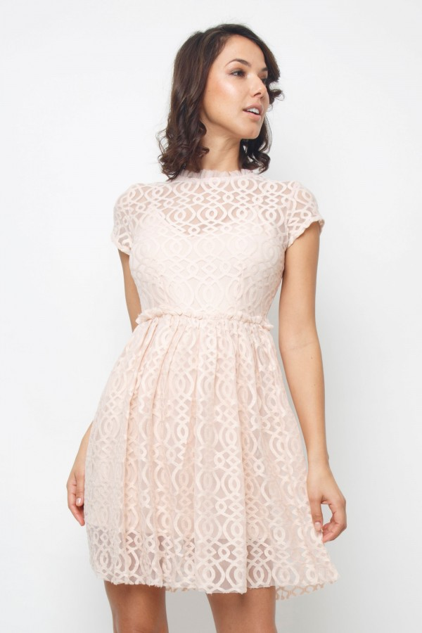 Lace & Beads Pete Nude Dress
