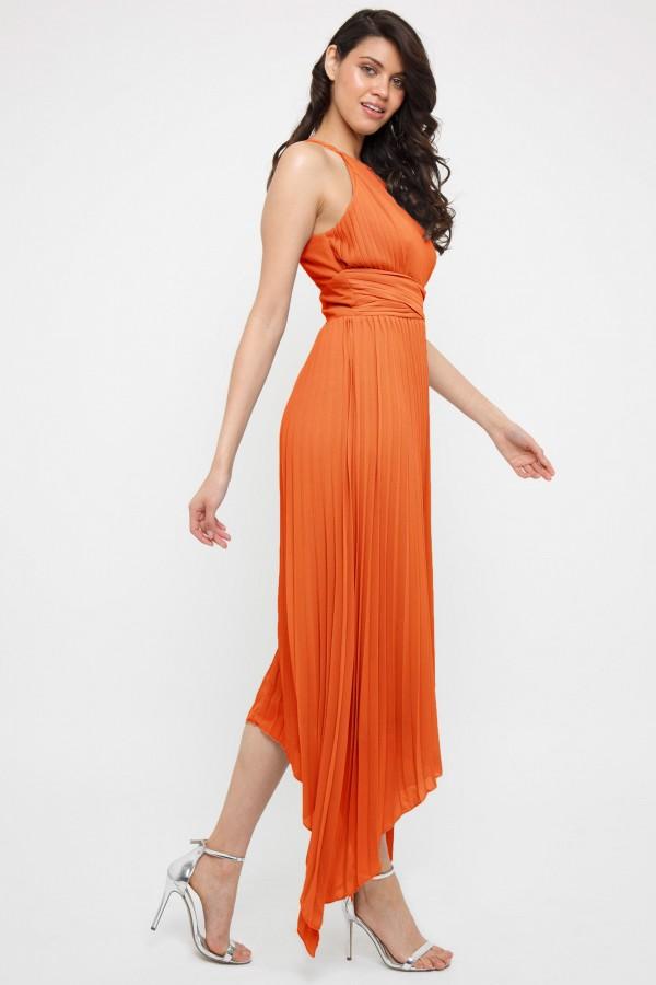 TFNC Morely Orange Hi-Lo Maxi Dress