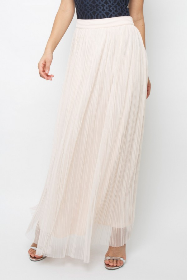 Lace & Beads Crinkle Nude Maxi Skirt