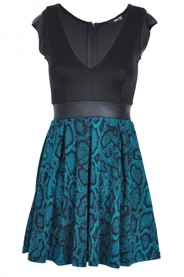 TFNC Isa Snakeskin Fit and Flare Dress