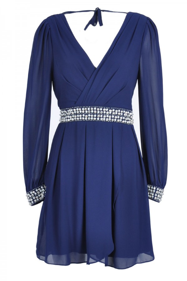 TFNC Iman Wrap Embellished Dress