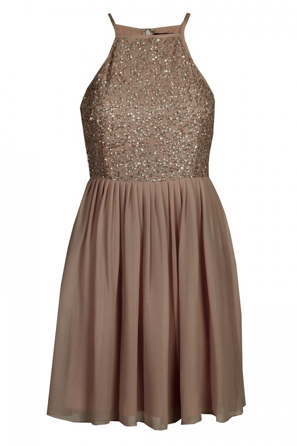 Lace & Beads Sprinkle Mocha Dress