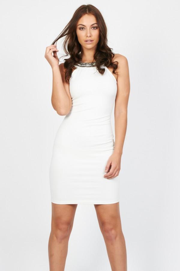 TFNC Riccocone White Embellished Dress