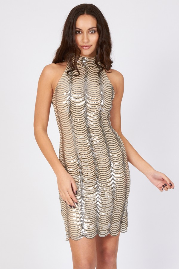 TFNC Scallop Silver Sequin High Neck Dress