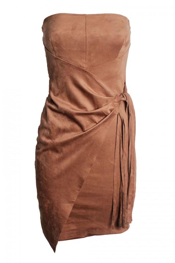 TFNC Noreen Suedette Tan Dress