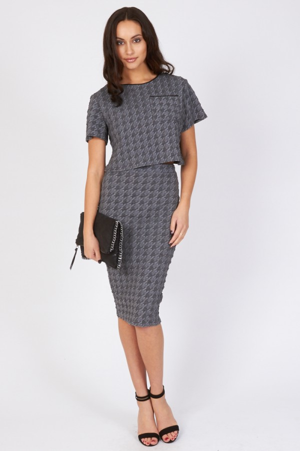 TFNC Amina Grey Midi Skirt