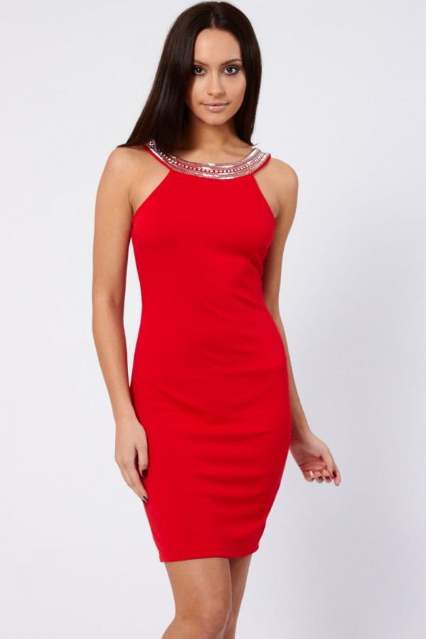 TFNC Riccocone Red Embellished Bodycon Dress