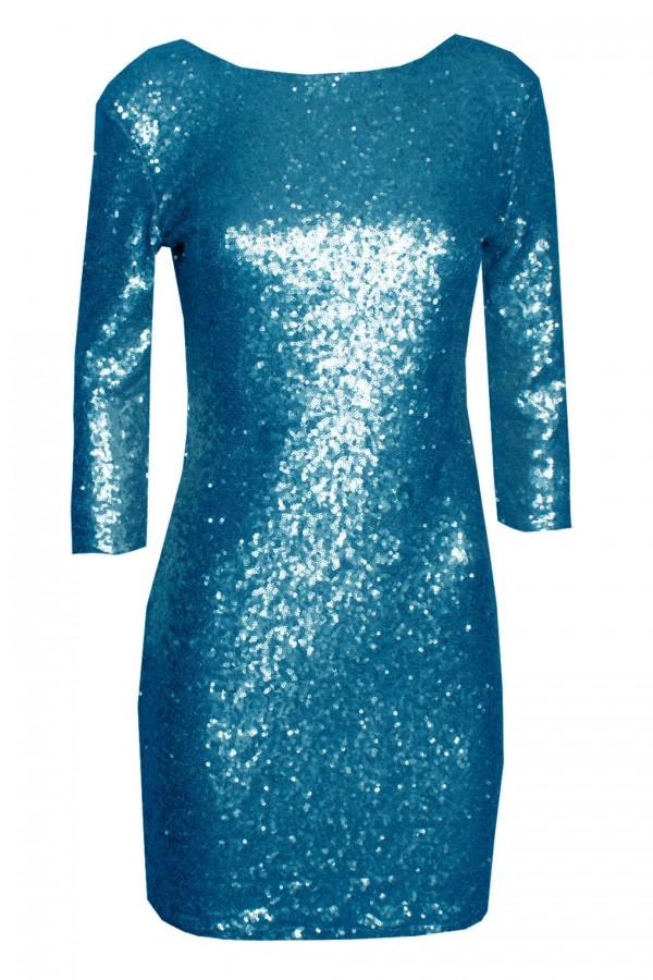 TFNC Paris V Back Aqua Sequin Dress