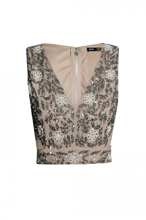 Lace & Beads Vera Taupe Top