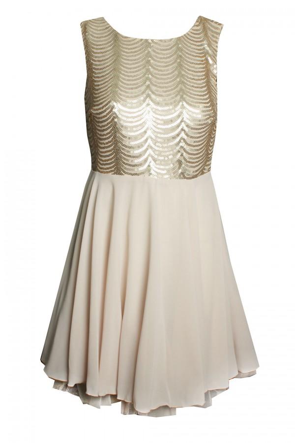 TFNC Brenna Sequin Gold Dress