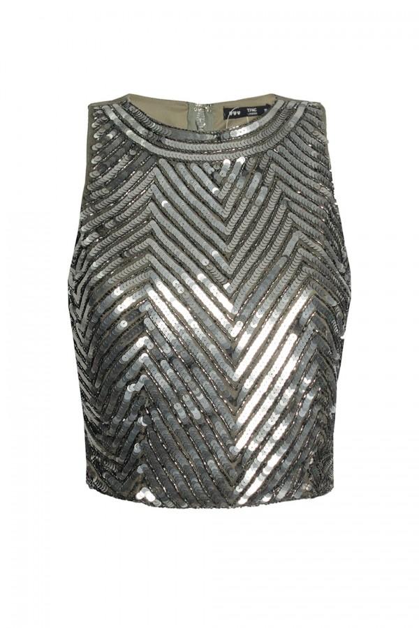 Lace & Beads Georgian Khaki Top
