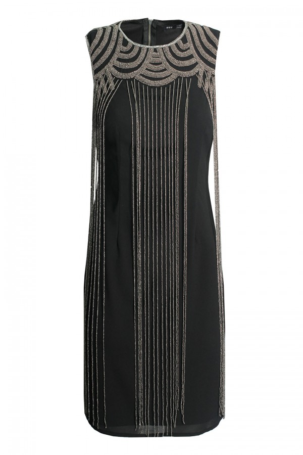 Lace & Beads Taylor Fringe Black Embellished Dress