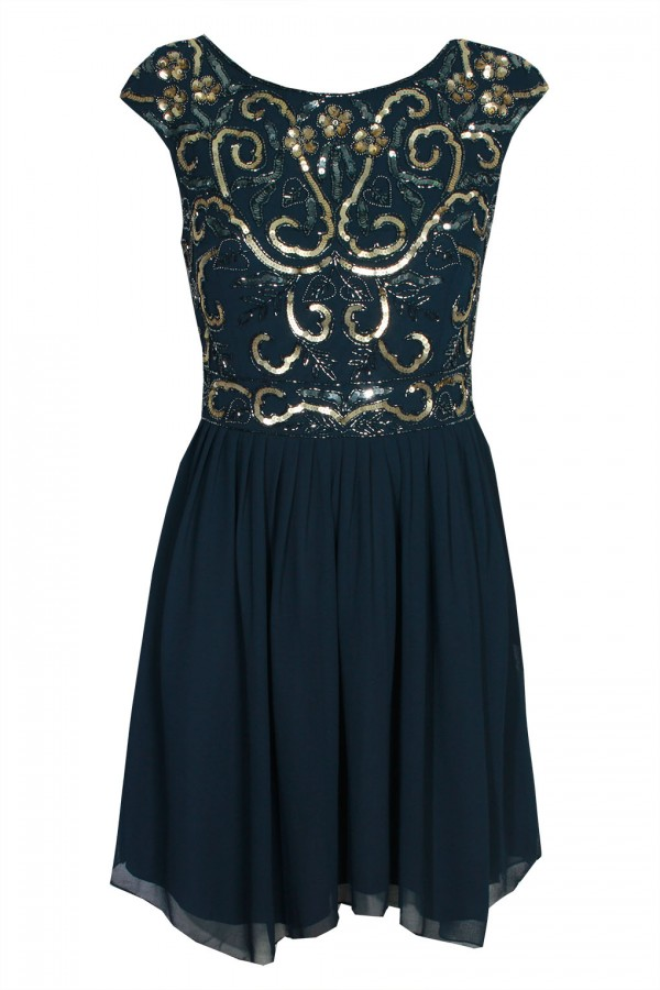 Lace & Beads Grace Navy Dress