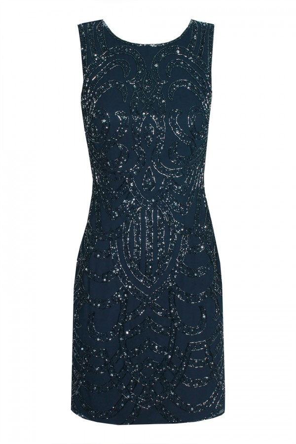 Lace & Beads Brittany Navy Embellished Dress