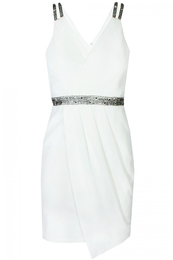 TFNC Layla White Embellished Dress