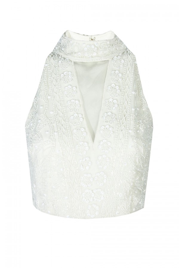 Lace & Beads Twilight White Top