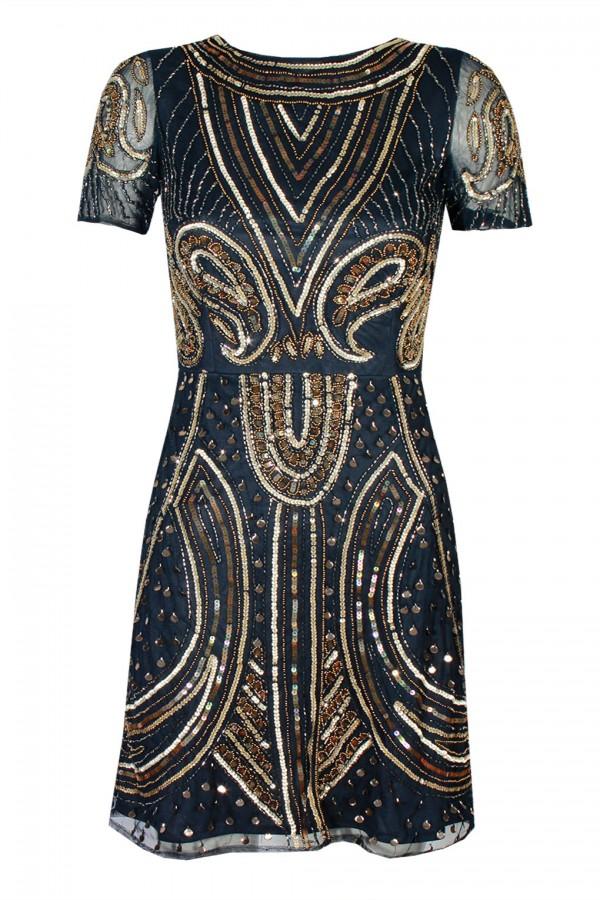 Lace & Beads Tara Navy Embellished Dress