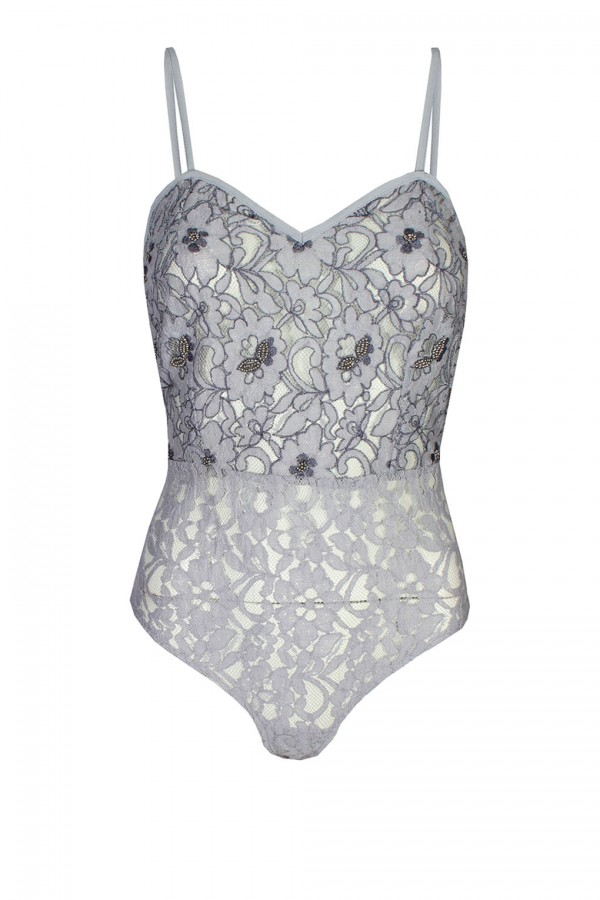 Lace & Beads Leighannna Grey Bodysuit