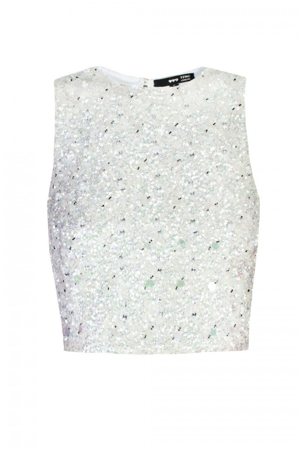 Lace & Beads Picasso White Sequin Top
