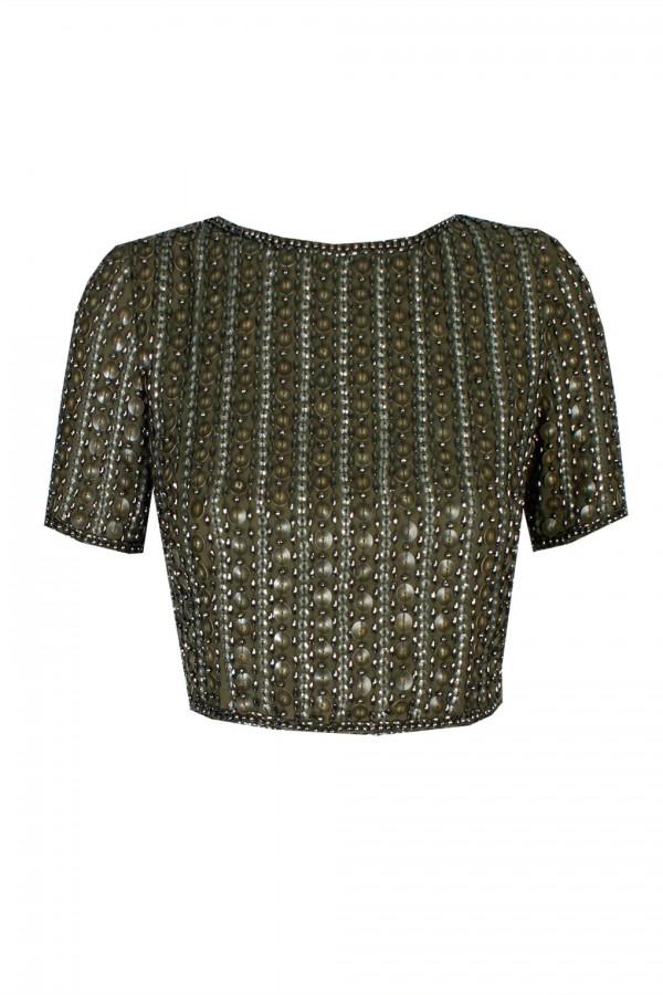 Lace & Beads Letty Khaki Top