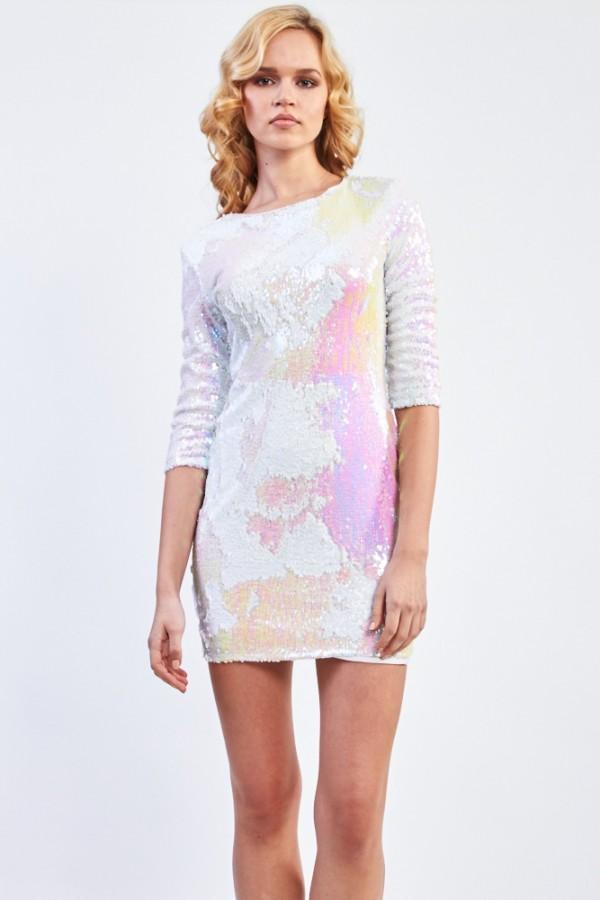 TFNC Paris White Iridescent  Sequin Dress