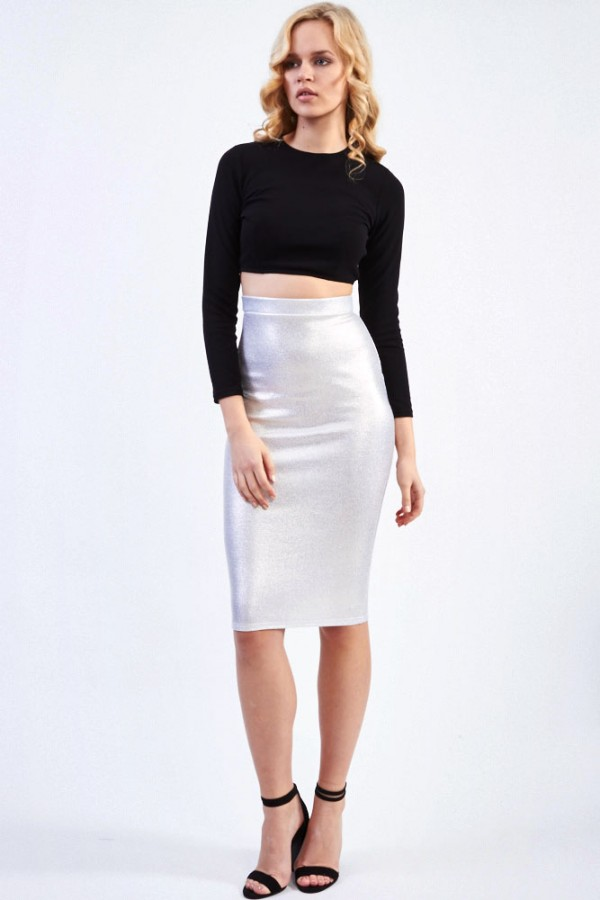 TFNC Amanda Sue Gold Midi Skirt