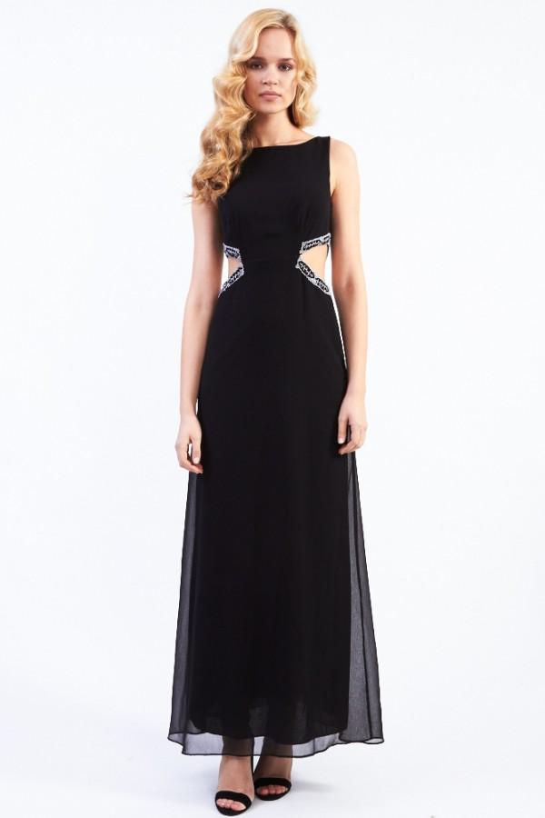 Lace & Beads Mercedes Black Maxi Dress