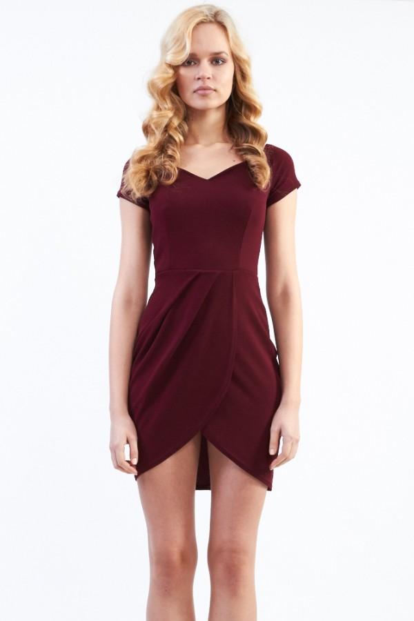 TFNC Carel Ox Blood Off Shoulder Textured Dress
