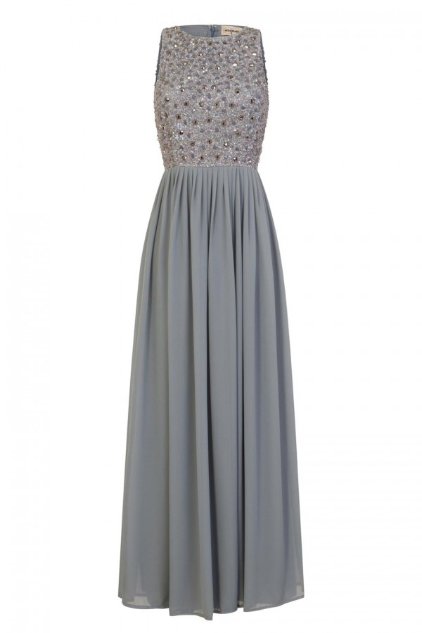 Lace & Beads Yara Embellished Grey Maxi Dress
