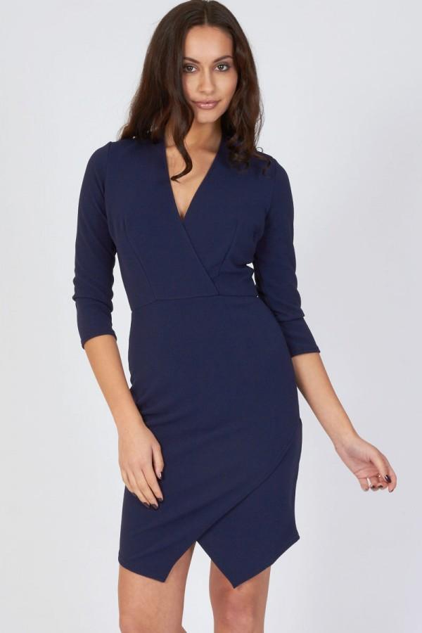 TFNC Alita Navy Wrap-Over Dress