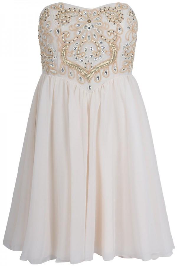 TFNC Nancy Embellished Bandeau Dress