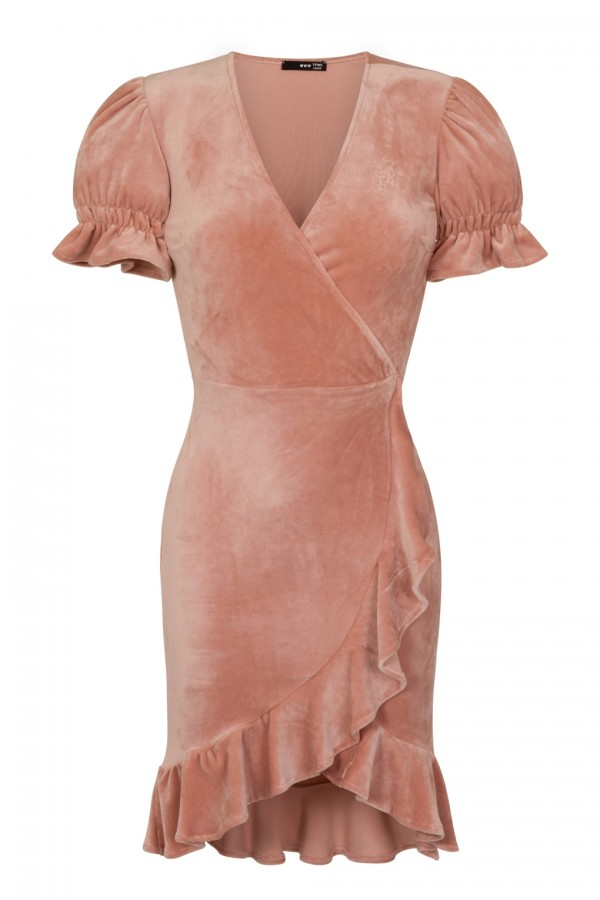 TFNC Edwina Crushed Velvet Pink Midi Dress