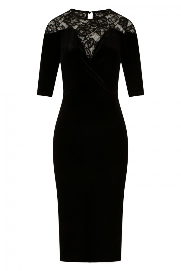 TFNC Anely Velvet Lace Black Midi Dress