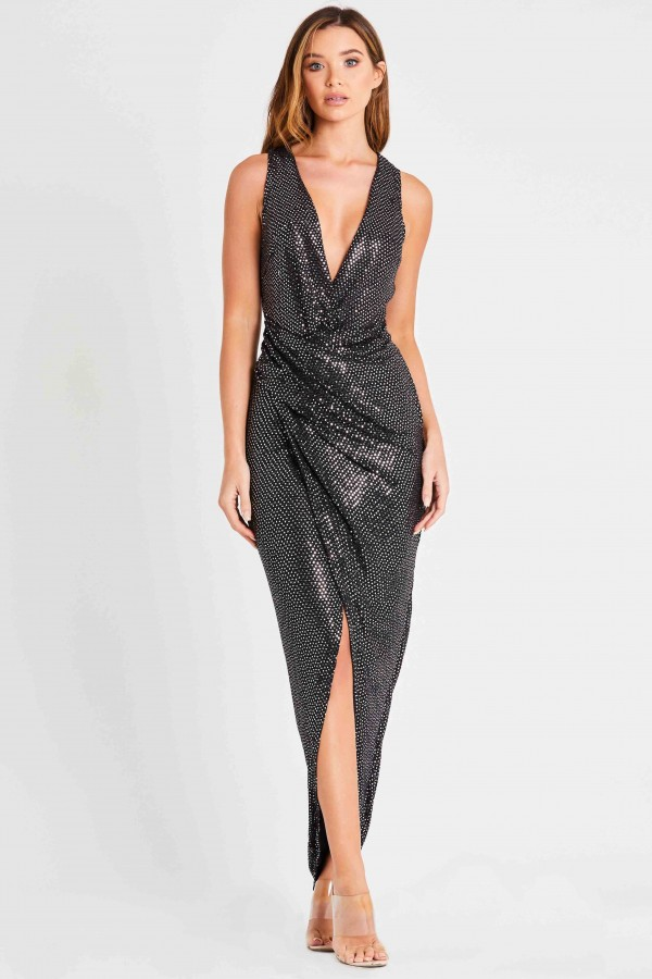 Skirt & Stiletto Alessandra Black Wrap Sequin Maxi Dress