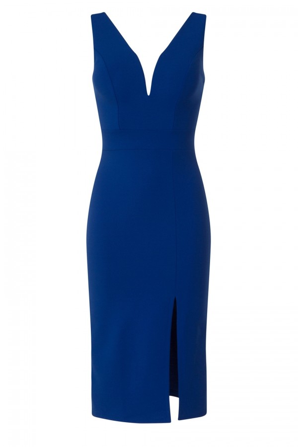 WalG Deep V Blue Midi Dress