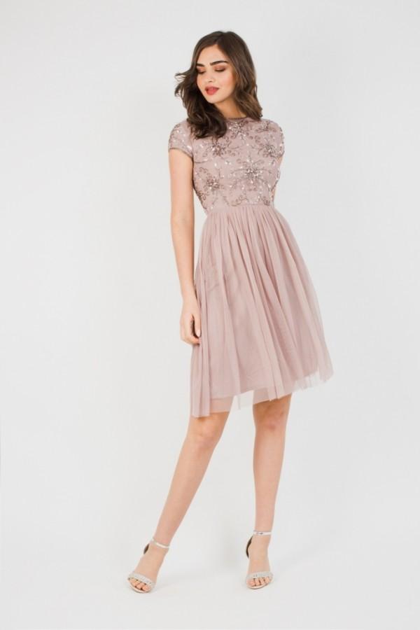 Lace & Beads Nemesis Mink Mini Dress