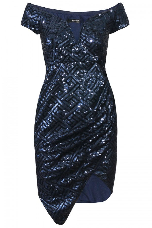 TFNC Jay Navy Sequin Midi Dress
