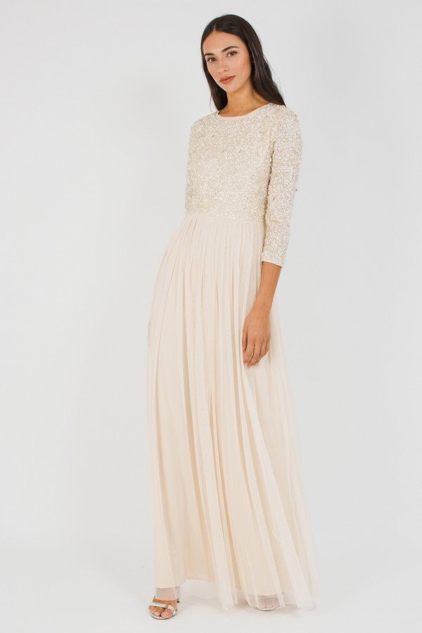 Lace & Beads Picasso 3/4 Sleeved Cream Embellished Maxi Dress