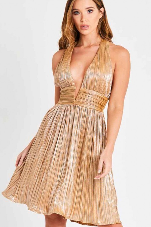 Skirt & Stiletto Arabella Gold Metalic Mini Dress