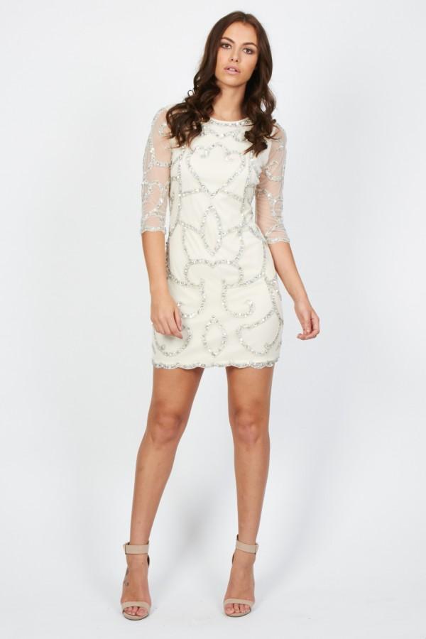 Lace & Beads Florida Cream Embellished Dress