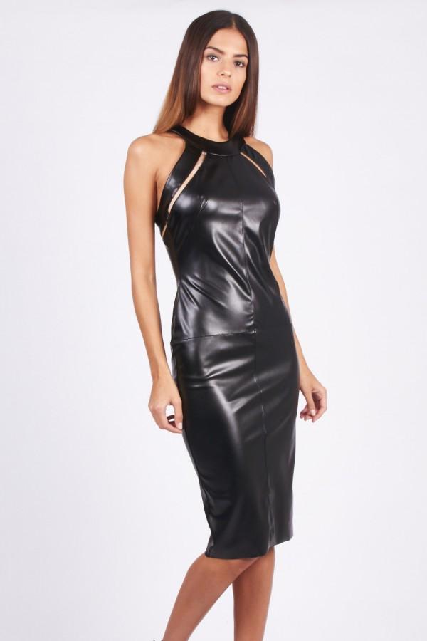 TFNC Myleen PVC Black Dress