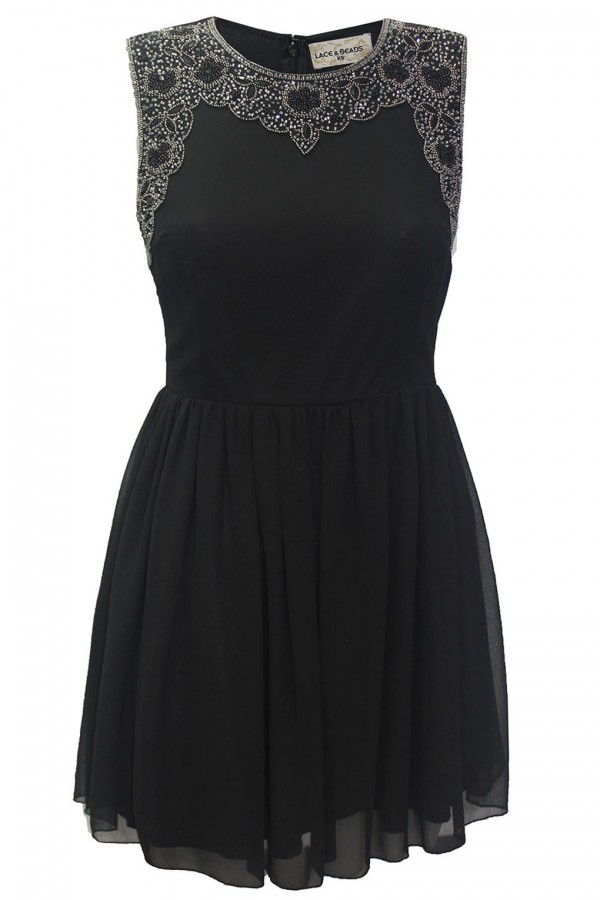 Lace & Beads Becky Black Dress