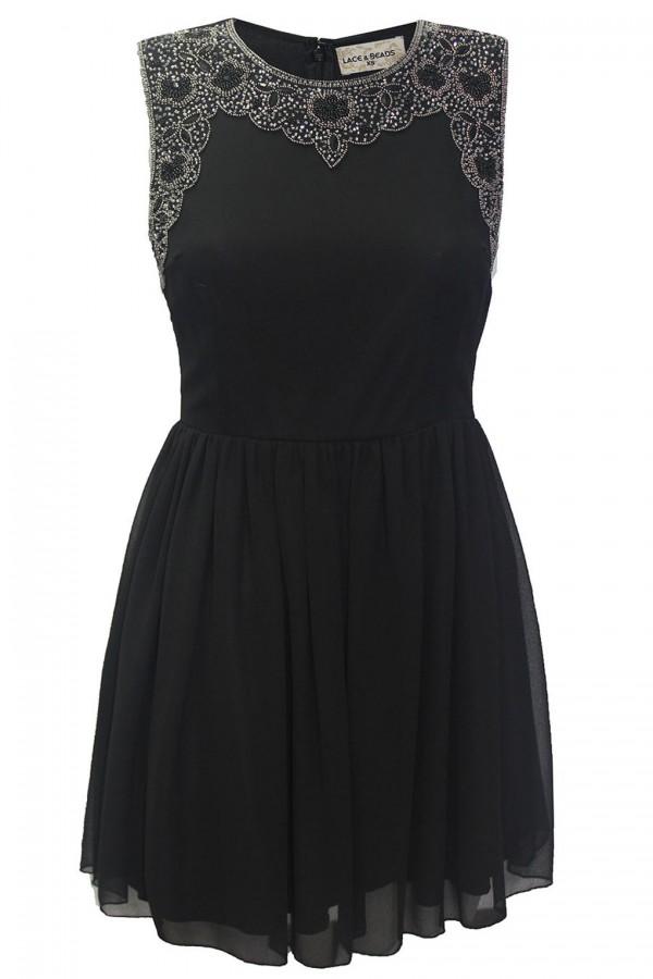 Lace & Beads Becky Black Dress