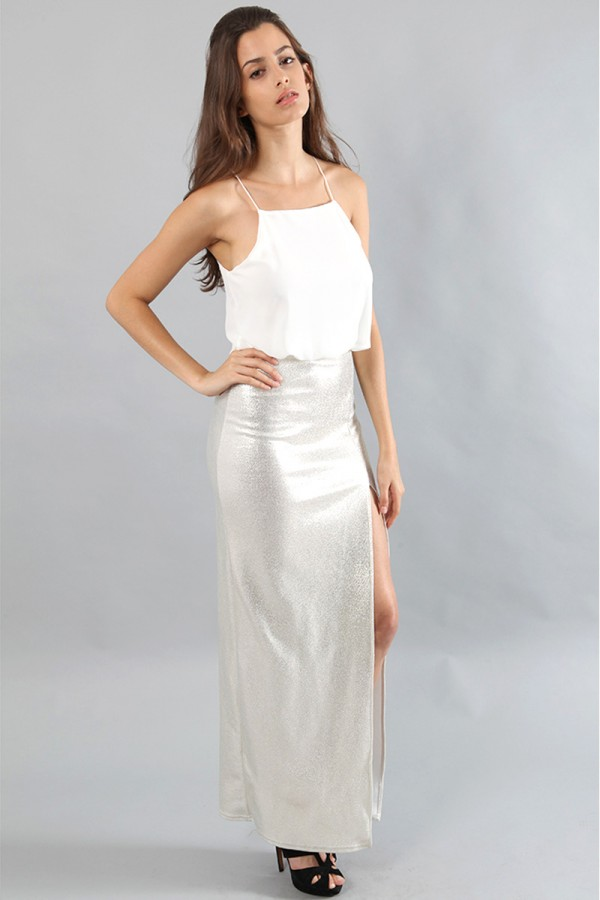 TFNC Annie Cream Metallic Cami Maxi Dress