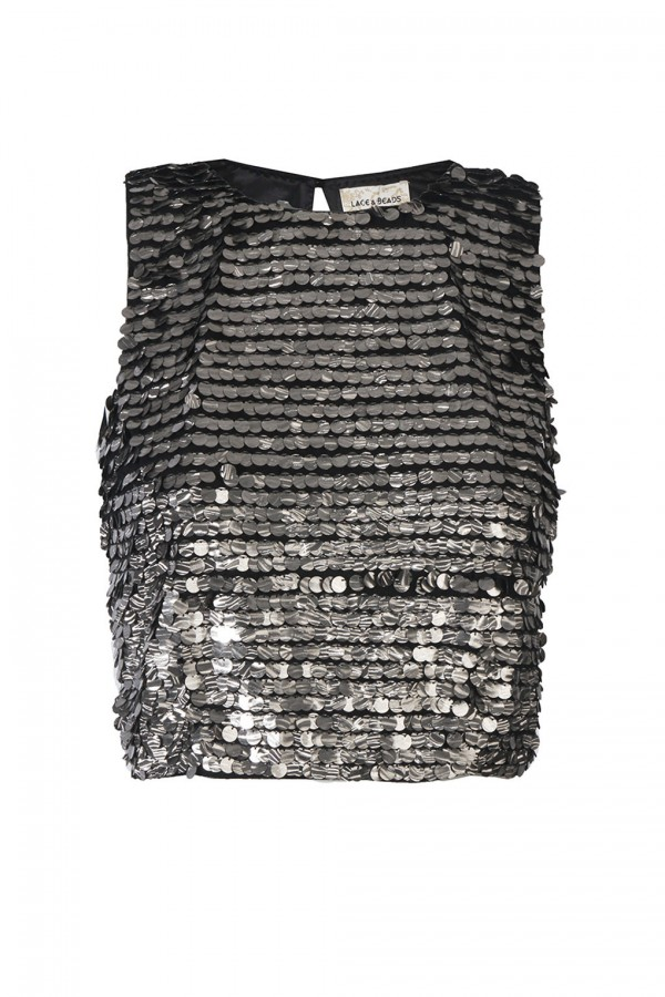 Lace & Beads Sasha Silver Sequin Top