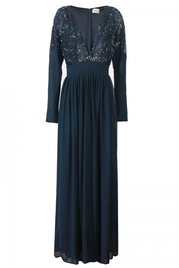 Lace & Beads Lydia Navy Maxi Dress