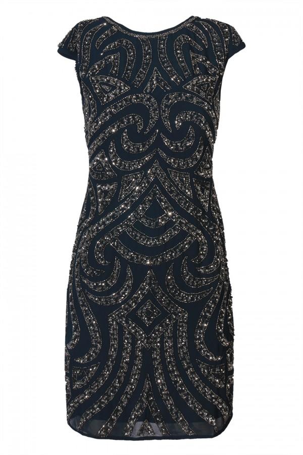Lace & Beads Park Navy Embellished Dress